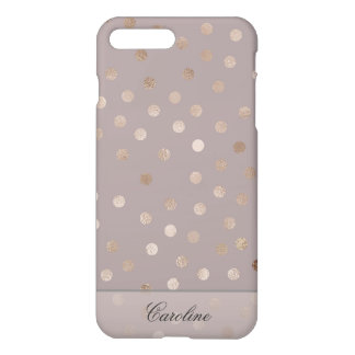 Stylish Mauve and Shimmery Dots with Your Name iPhone 8 Plus/7 Plus Case