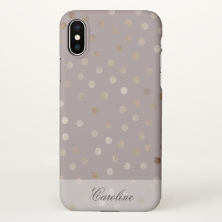 Stylish Mauve and Shimmery Dots with Your Name iPhone X Case