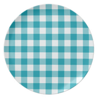 Stylish Melamine Plate, Teal Check Gingham Plate