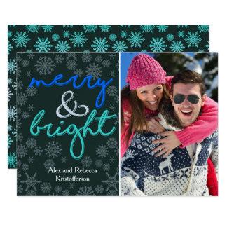 Stylish Merry and Bright One Photo Christmas Card 13 Cm X 18 Cm Invitation Card