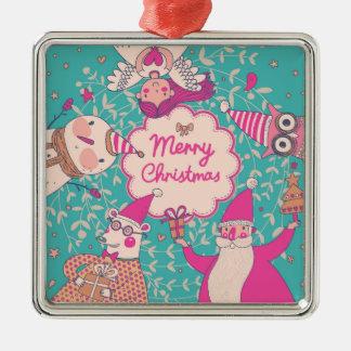 Stylish Merry Christmas Card Christmas Ornament