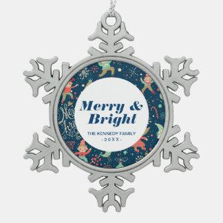 Stylish Merry Christmas Pattern Snowflake Pewter Christmas Ornament