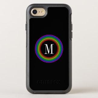 Stylish Minimal Black Rainbow Dots White Monogram OtterBox Symmetry iPhone 8/7 Case