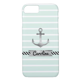 Stylish Mint Green Stripes Watercolor Anchor iPhone 8/7 Case