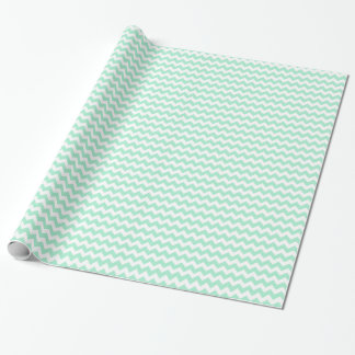 Stylish mint green zig zags zigzag chevron pattern wrapping paper