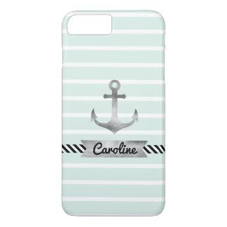 Stylish Mint Stripes Watercolor Anchor Custom iPhone 8 Plus/7 Plus Case