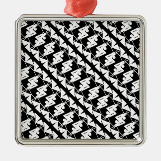 Stylish Mirrored Geometric & Abstract Pattern Christmas Ornament