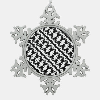 Stylish Mirrored Geometric & Abstract Pattern Snowflake Pewter Christmas Ornament