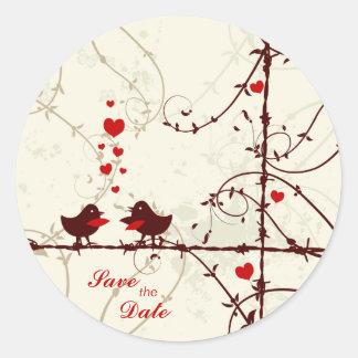 Stylish mod swirl vines birds save the date sticker