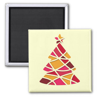 Stylish modern art red and gold Christmas tree Refrigerator Magnet