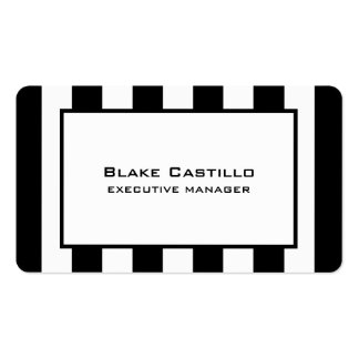 Stylish Modern Elegant Black White Striped Pack Of Standard Business Cards