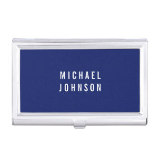 Stylish Modern Faux Linen Blue Business Card Holder