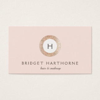 Stylish Modern FAUX Sequin and Blush Pink Monogram Business Card