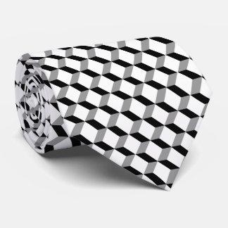 Stylish Modern Geometric Black White Cubes Tie