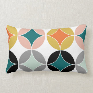 Stylish Modern Mid Century Circles Repeat Pattern Lumbar Pillow