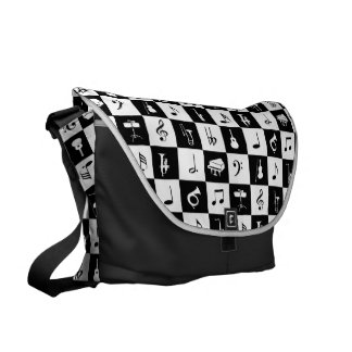 Stylish modern music notes and instruments messenger bag