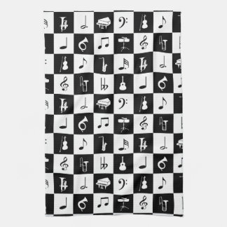 Stylish Modern Music Notes and Instruments Tea Towel