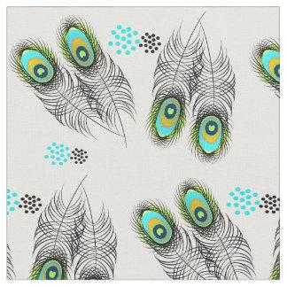 Stylish Modern Peacock Feathers and Spots Pattern Fabric