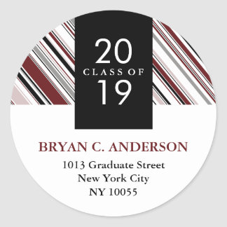 Stylish Modern Pin Stripes Graduation Stickers