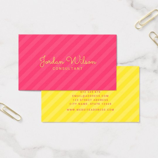 Stylish Modern Pink and Yellow Stripes Business Card