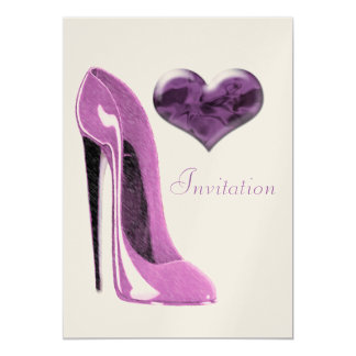 Stylish Modern Pink Stiletto Shoe Invitation 13 Cm X 18 Cm Invitation Card