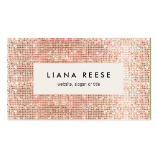 Stylish Modern Rose Gold Sequin Beauty Salon Pack Of Standard Business Cards