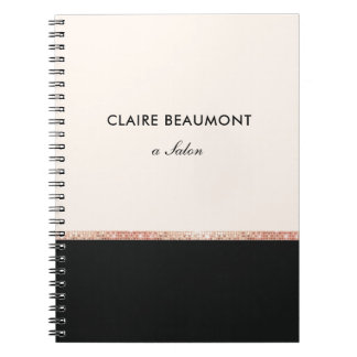 Stylish Modern Rose Gold Sequin Black Notebook
