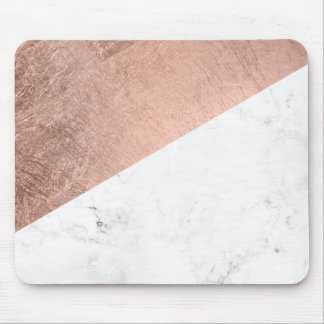 Stylish modern rose gold white marble color block mouse mat
