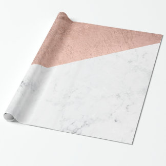 Stylish modern rose gold white marble color block wrapping paper