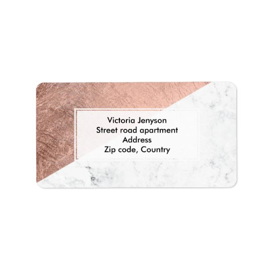 Stylish modern rose gold white marble colour block address label
