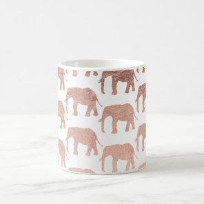 Stylish modern rose gold wild elephants pattern coffee mug