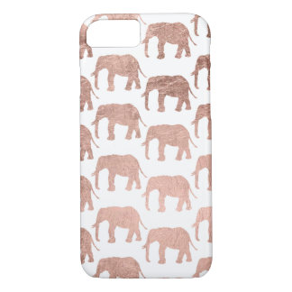 Stylish modern rose gold wild elephants pattern iPhone 7 case