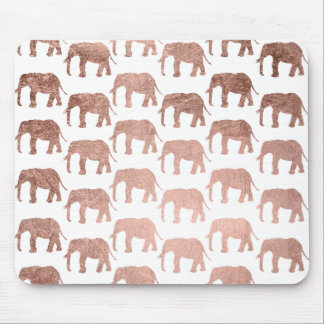 Stylish modern rose gold wild elephants pattern mouse mat
