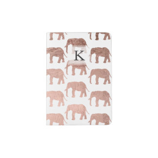 Stylish modern rose gold wild elephants pattern passport holder