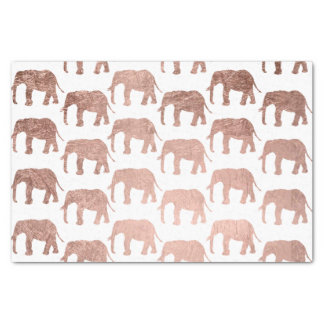 Stylish modern rose gold wild elephants pattern tissue paper