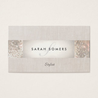 Stylish Modern Silver Sequin Monogram Beauty