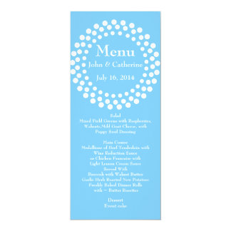Stylish Modern Sky Blue Wedding Table Menu 10 Cm X 24 Cm Invitation Card