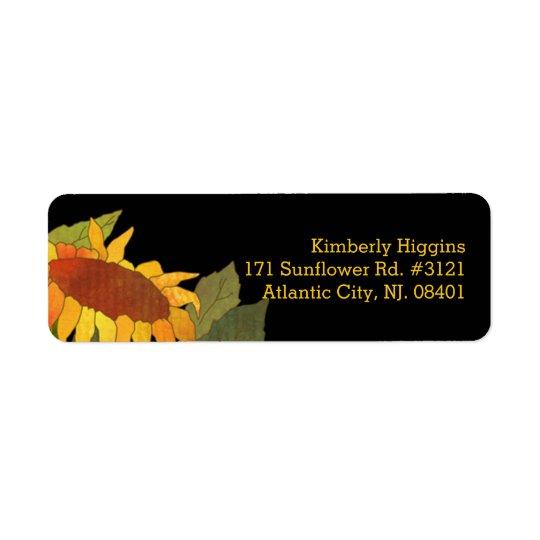 Stylish Modern Sunflower Black Address