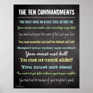 Stylish Modern Ten Commandments Sign