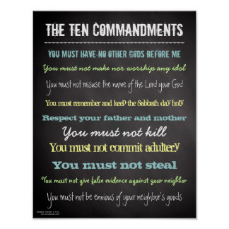 Stylish Modern Ten Commandments Sign Poster