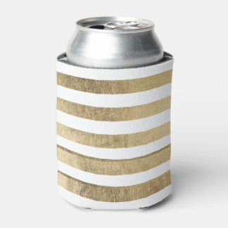 Stylish modern trendy faux gold foil stripes can cooler