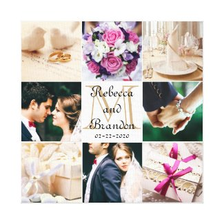 Stylish Modern Wedding Monogrammed Photo Collage Canvas Print