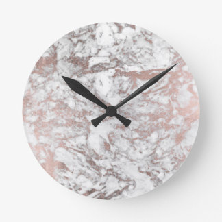 Stylish modern white faux rose gold elegant marble round clock