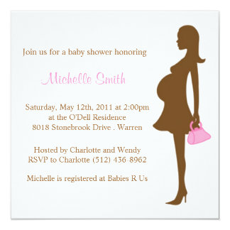 stylish mom to be; baby shower 13 cm x 13 cm square invitation card
