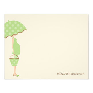 Stylish Mom to Be Baby Shower Flat Thank You Cards Personalized Announcement