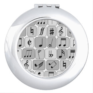 Stylish Monochrome Geometric Music Notes Pattern Mirror For Makeup
