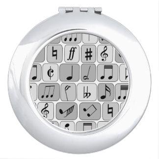 Stylish Monochrome Geometric Music Notes Pattern Vanity Mirror