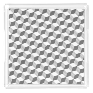 Stylish Monochrome Grey Diamond Shapes Acrylic Tray