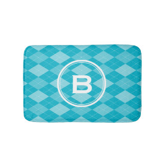 Stylish monogram aqua blue argyle pattern bath mat