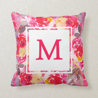 Stylish Monogram Pink Floral Roses Watercolor Throw Pillow